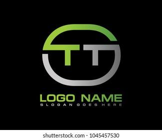 T T Initial circle logo template vector