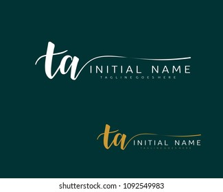 T A Initial handwriting logo vector. Hand lettering for designs.
