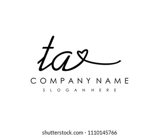 T A Initial handwriting logo vector