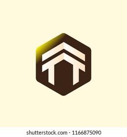 T T Initial letter hexagonal logo vector