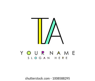 T & A initial minimalist logo template vector