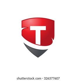 T initial swoosh shield logo red