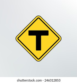 T intersection  icon.Vector illustration.