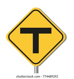 T Intersection Sign vector design