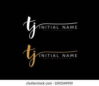 T J Initial handwriting logo vector. Hand lettering for designs.