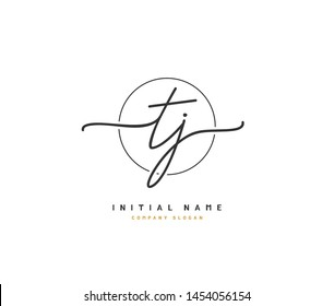 T J TJ Beauty vector initial logo, handwriting logo of initial signature, wedding, fashion, jewerly, boutique, floral and botanical with creative template for any company or business.