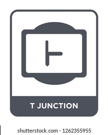 t junction icon vector on white background, t junction trendy filled icons from Traffic signs collection, t junction simple element illustration