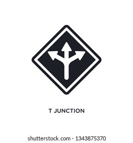 t junction isolated icon. simple element illustration from traffic signs concept icons. t junction editable logo sign symbol design on white background. can be use for web and mobile