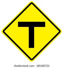 T junction road traffic sign