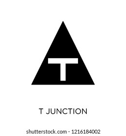 T junction sign icon. T junction sign symbol design from Traffic signs collection. Simple element vector illustration on white background.