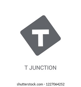 T junction sign icon. Trendy T junction sign logo concept on white background from Traffic Signs collection. Suitable for use on web apps, mobile apps and print media.