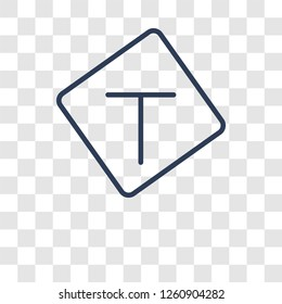 T junction sign icon. Trendy T junction sign logo concept on transparent background from Traffic Signs collection