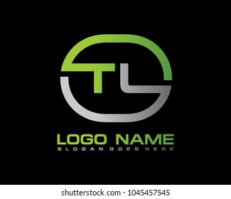 T L Initial circle logo template vector