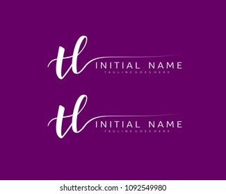 T L Initial handwriting logo vector. Hand lettering for designs.