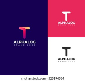 T Letter Alphabet logo in color, black and white
