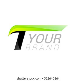 T letter black and green logo design Fast speed template elements