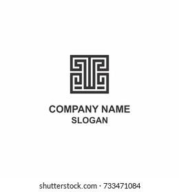 T letter (Greek ornament style) logo.