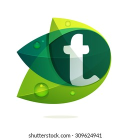 T letter with green leaves and dew drops. Vector design template elements for your application or corporate identity.