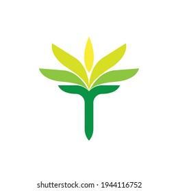 T letter with Leaf logo design vector