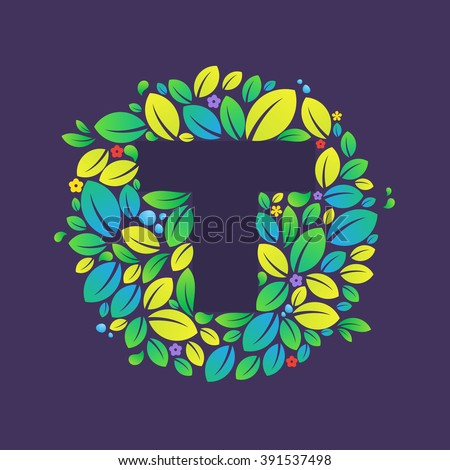 T Letter Logo Circle Leaves Flowers Stock Vector (Royalty