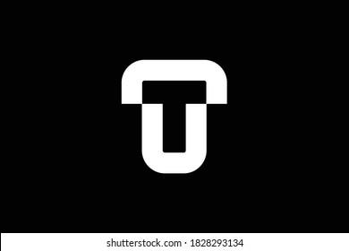 T letter logo design on luxury background. TT monogram initials letter logo concept. TU icon design. UT elegant and Professional letter icon design on black background. T TT TU UT