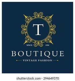 T Letter logo, Monogram design elements, line art logo design. Beautiful Boutique Logo Designs, Business sign, Restaurant, Royalty, Cafe, Hotel, Heraldic, Jewelry, Fashion, Wine. Vector illustration