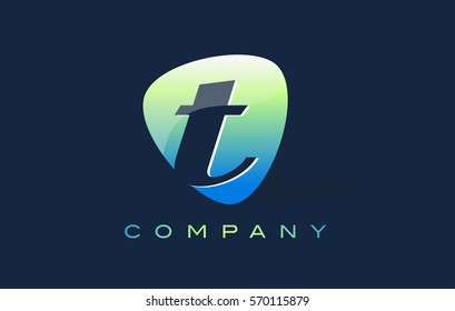 t Letter Logo. Oval Shape Modern Design with Glossy Look.