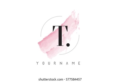 T Letter Logo with Watercolor Pastel Aquarella Brush Stroke and Circular Rounded Design.