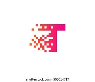 T Letter Pixel Motion Logo Design Template
