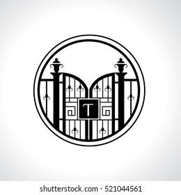 T letter vintage fence vector logo design template. Vintage Luxury Gate Logo