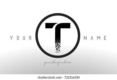 T Logo Letter with Digital Pixel Tech Design Vector and Black Circle Modern Look Vector Illustration.