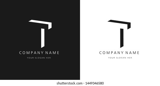 t logo, modern 3d design letter character
