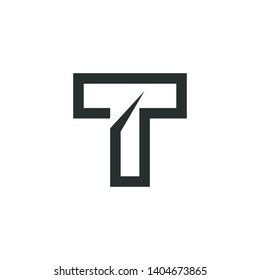 t logo vector , sophisticated and modern design,t solution logo