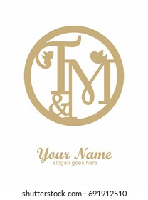 T M initial wedding decorative logo template