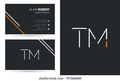 T & M joint logo stroke letter design with business card template