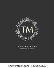 T M TM Beauty vector initial logo, handwriting logo of wedding, fashion, jewerly, heraldic, boutique, floral and botanical with creative template for any company or business.