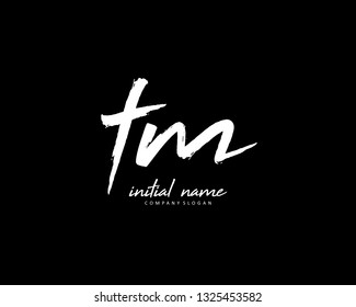 T M TM Initial brush logo template vector