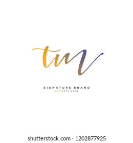 T M TM Initial letter handwriting and  signature logo concept design