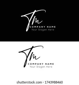 T M TM Initial letter handwriting and signature logo.