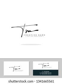 T M TM initial logo signature template vector. Handwriting concept logo.