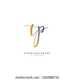 T P TP Initial letter handwriting and  signature logo concept design