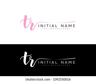 T R Initial handwriting logo vector. Hand lettering for designs.