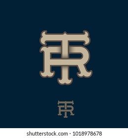 T and R monogram. T and R crossed letters, intertwined letters initials.