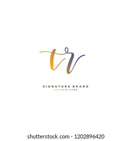 T R TR Initial letter handwriting and  signature logo concept design