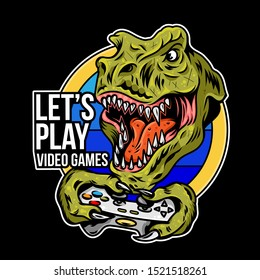 T rex angry dinosaur gamer which play game on joystick gamepad controller for arcade video game. Custom mascot sport logo design vector illustration. Print design of geek culture for t shirt apparel.
