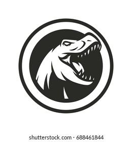T Rex - bw vector logo / mascot