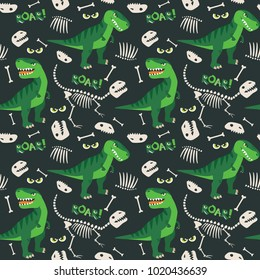 T Rex and Dino Bones Roar Seamless Pattern Dark Background Vector Illustration