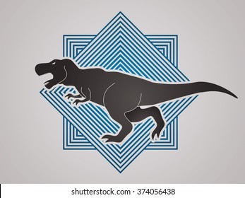 T rex dinosaur designed on line square background graphic vector