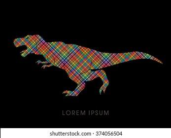 T rex dinosaur designed using line colorful pixels graphic vector