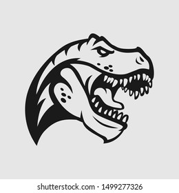 T  rex head logo gaming esport in black and white